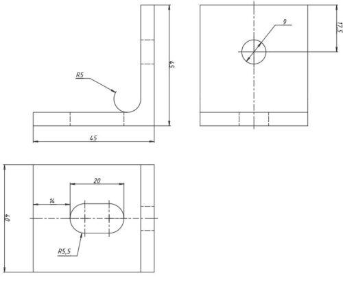 Алюминиевый кронштейн К3
