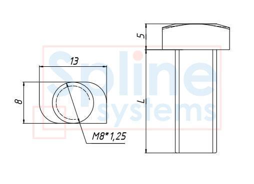 изображения товара болт Т-образный М8*20 с указанием размеров